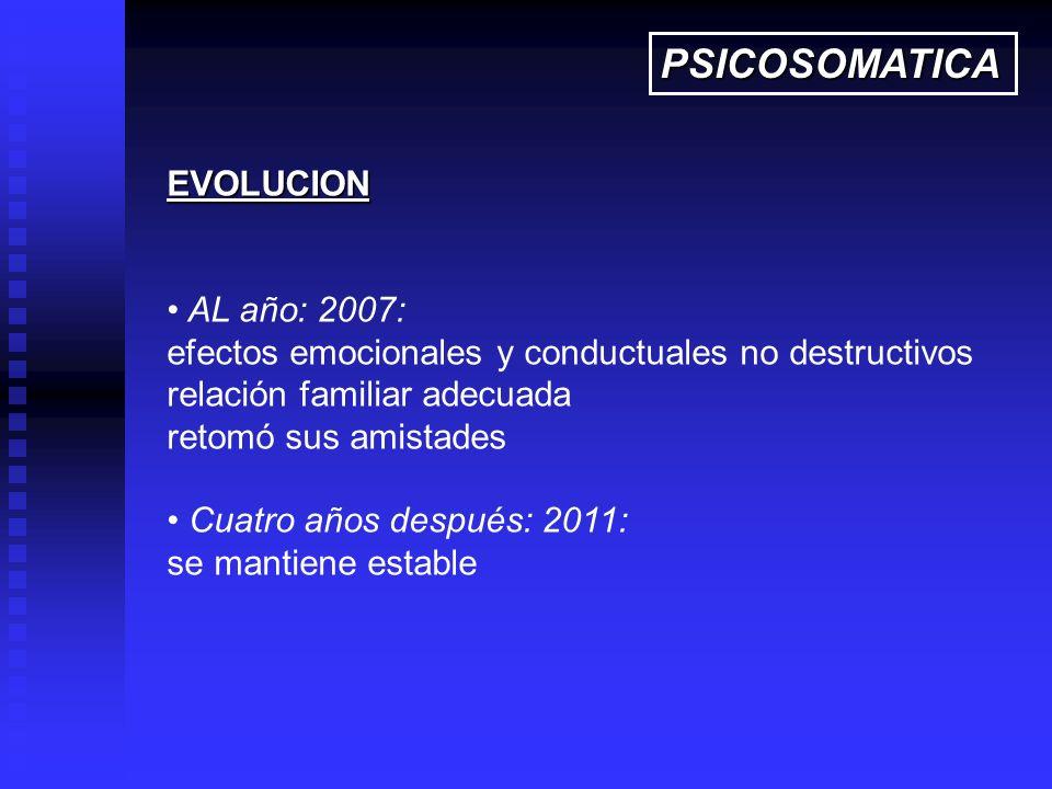 PSICOSOMATICA EVOLUCION AL año: 2007:
