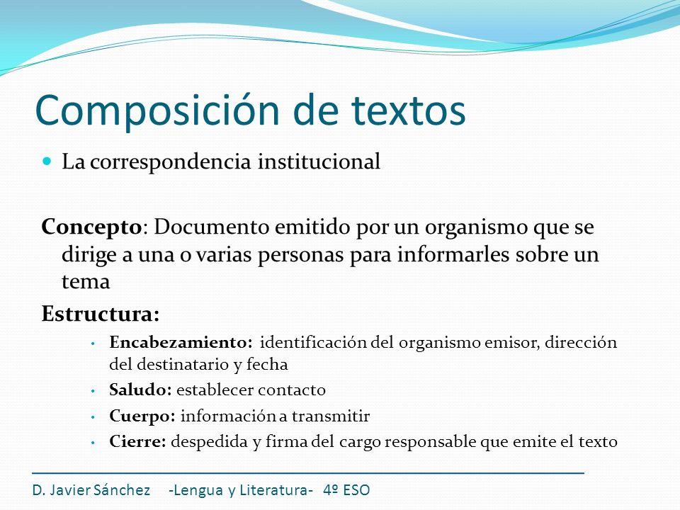 Composición de textos La correspondencia institucional