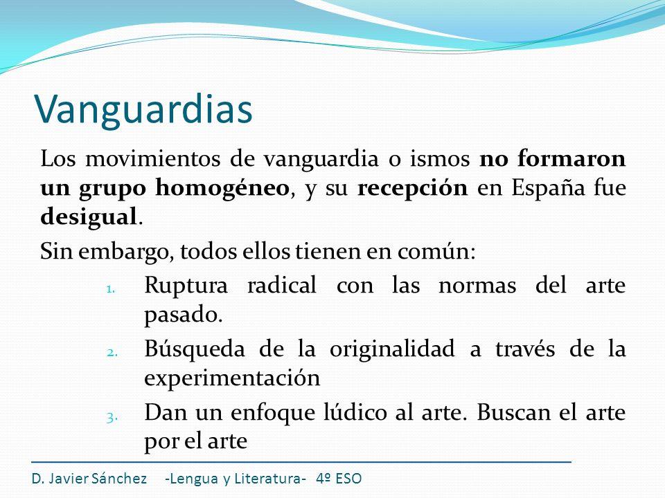 Vanguardias Los movimientos de vanguardia o ismos no formaron un grupo homogéneo, y su recepción en España fue desigual.