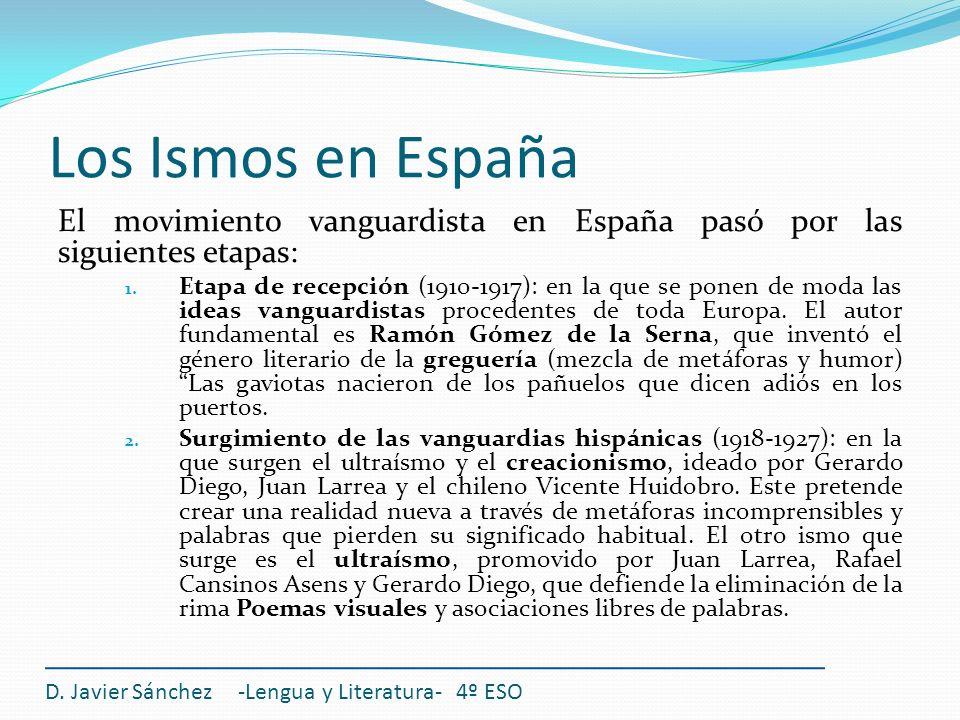 Los Ismos en España El movimiento vanguardista en España pasó por las siguientes etapas: