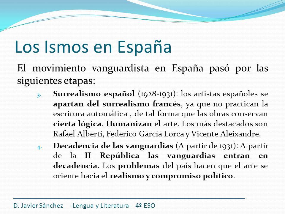 Los Ismos en EspañaEl movimiento vanguardista en España pasó por las siguientes etapas: