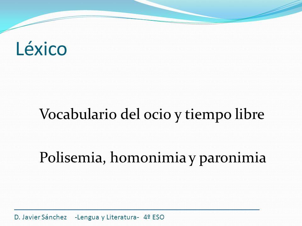 Léxico Vocabulario del ocio y tiempo libre