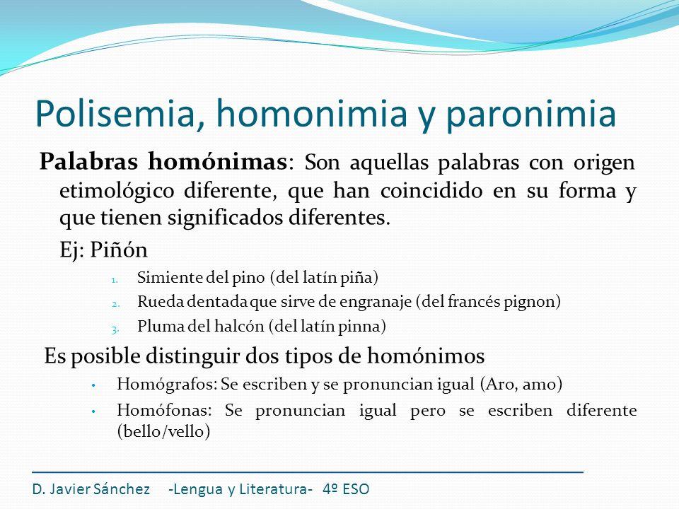 Polisemia, homonimia y paronimia