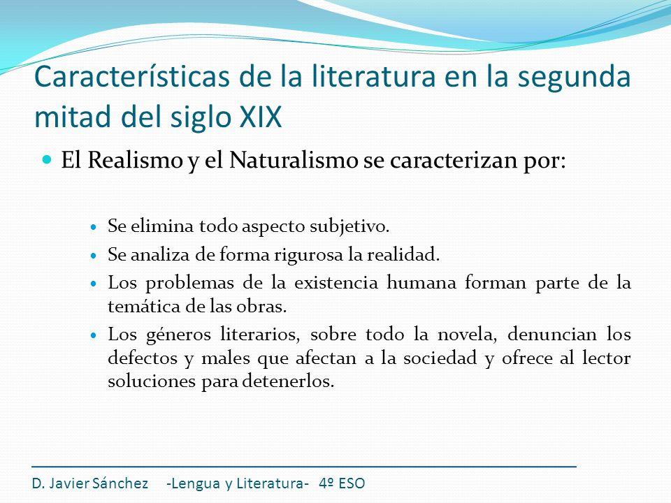 Características de la literatura en la segunda mitad del siglo XIX