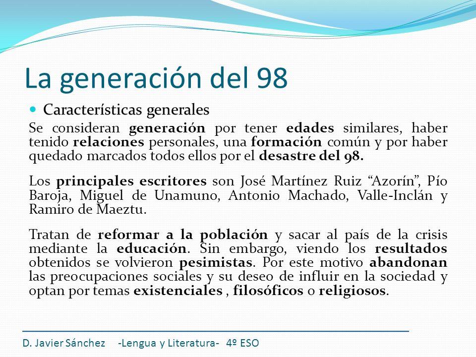 La generación del 98 Características generales