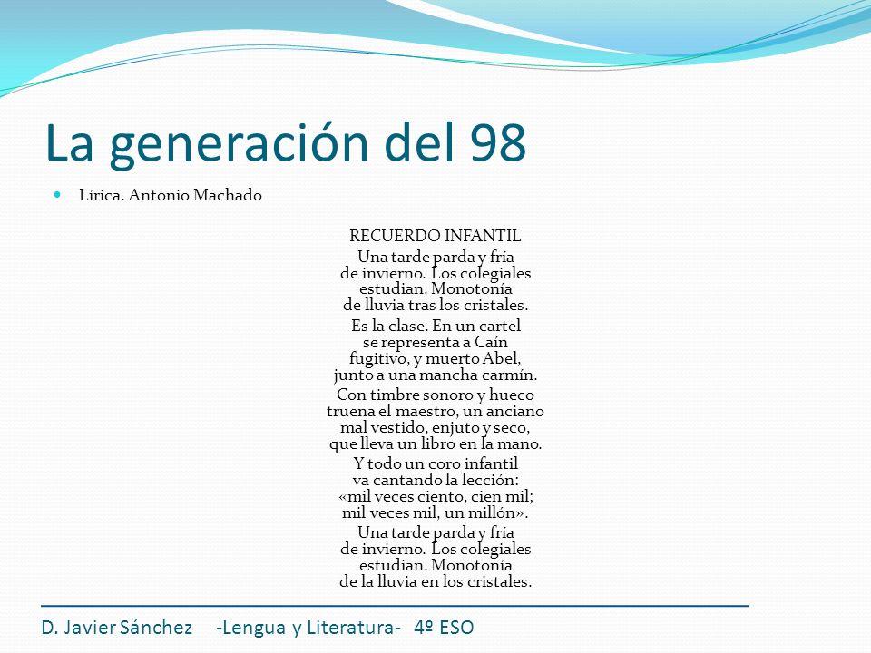 La generación del 98 D. Javier Sánchez -Lengua y Literatura- 4º ESO