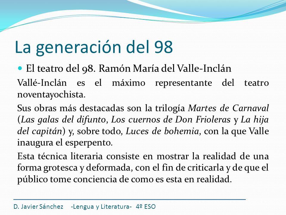 La generación del 98 El teatro del 98. Ramón María del Valle-Inclán
