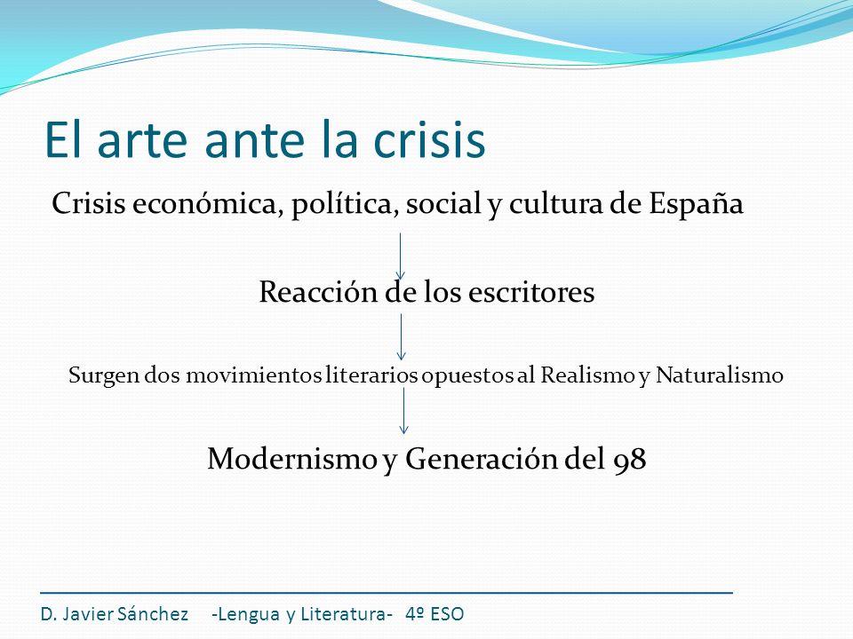 El arte ante la crisis Crisis económica, política, social y cultura de España. Reacción de los escritores.