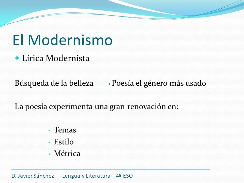 El Modernismo Lírica Modernista
