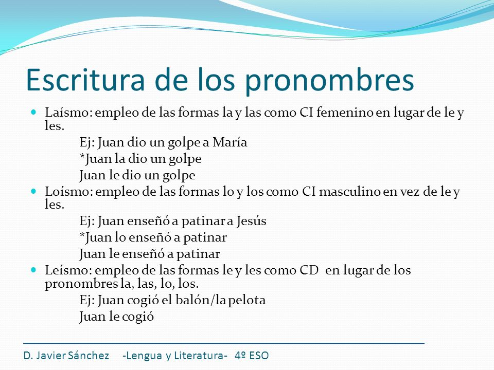 Escritura de los pronombres