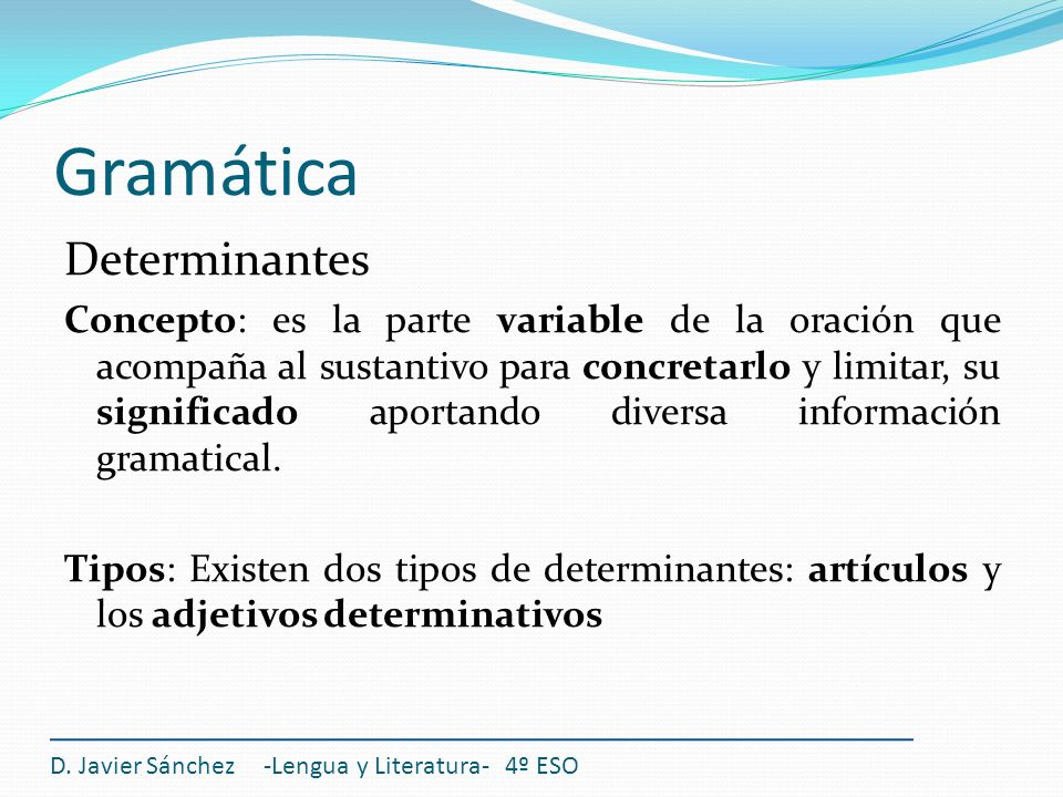 Gramática Determinantes