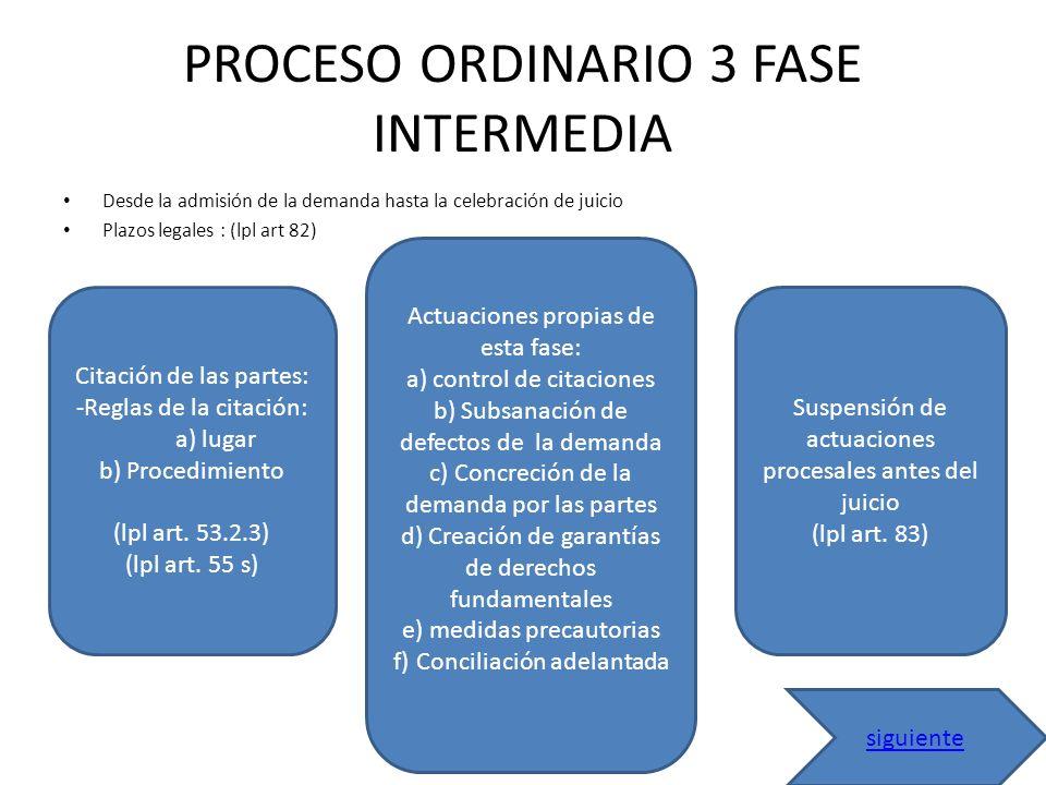 PROCESO ORDINARIO 3 FASE INTERMEDIA