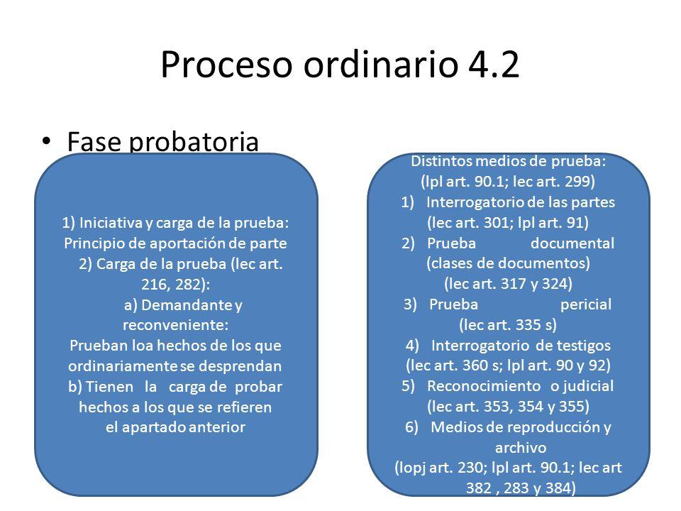 Proceso ordinario 4.2 Fase probatoria