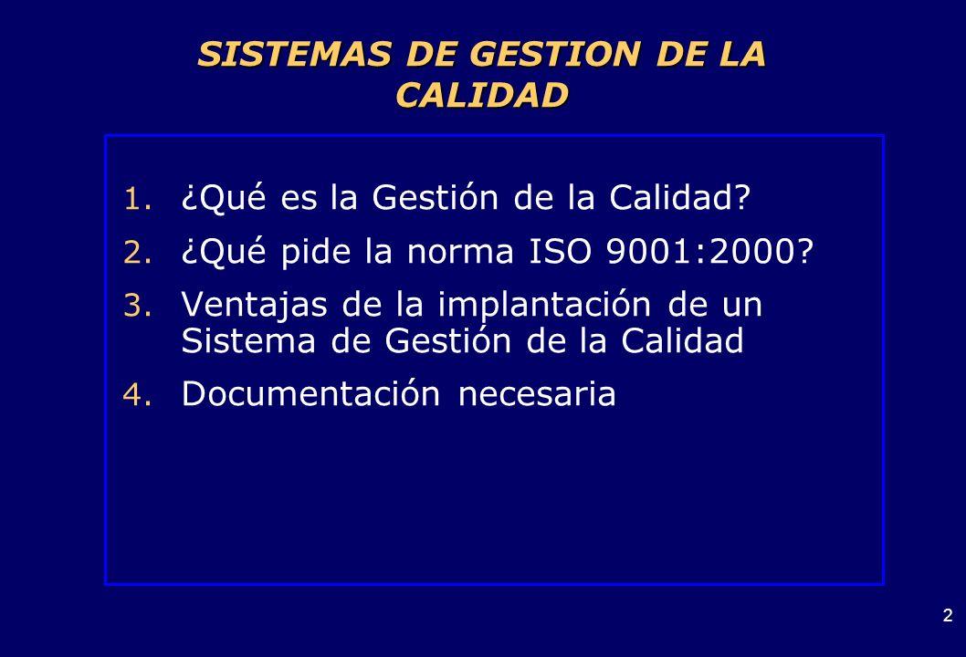 SISTEMAS DE GESTION DE LA CALIDAD