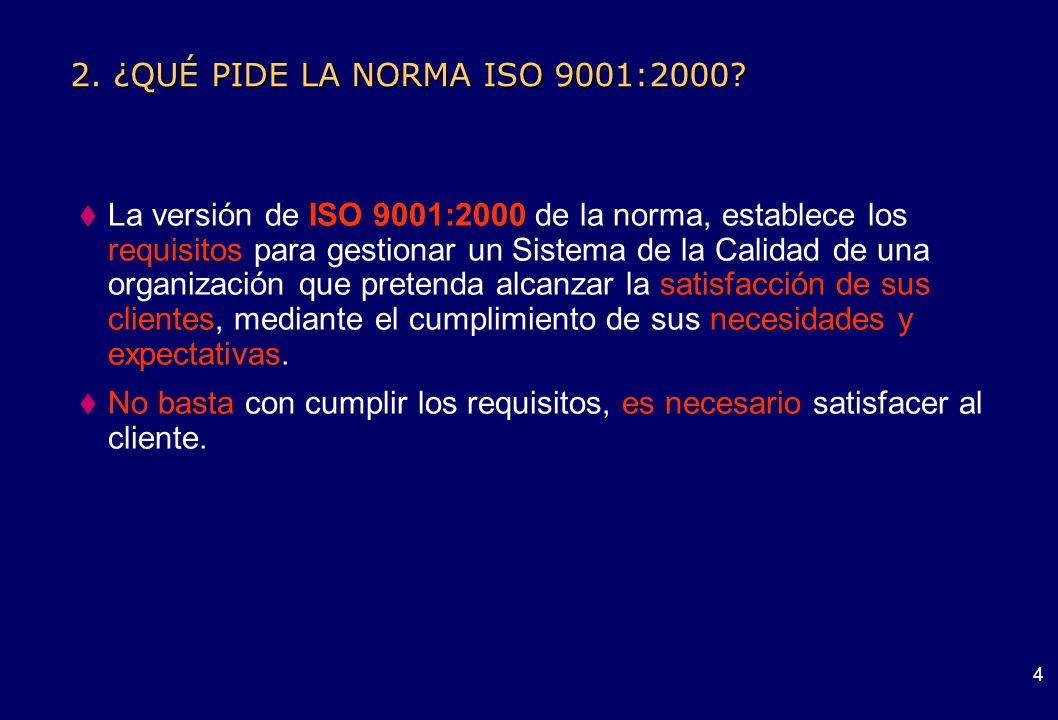 2. ¿QUÉ PIDE LA NORMA ISO 9001:2000