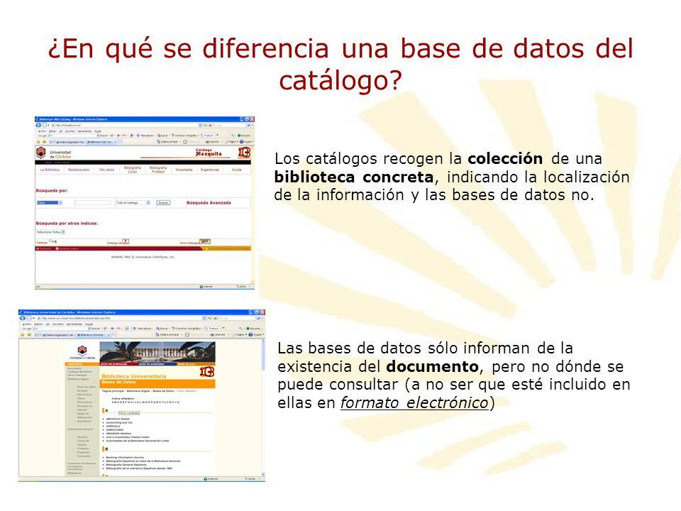 ¿En qué se diferencia una base de datos del catálogo