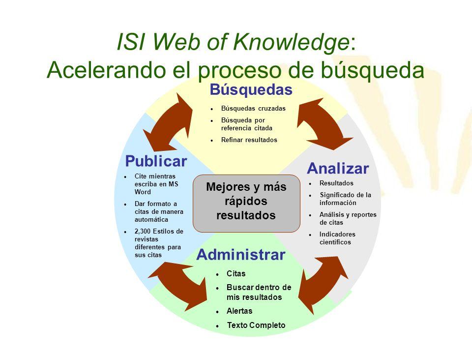 ISI Web of Knowledge: Acelerando el proceso de búsqueda