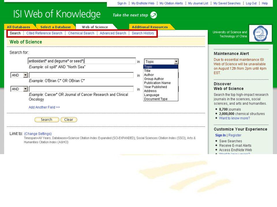 Todo el poder de búsqueda de Web of Science incluyendo las búsquedas