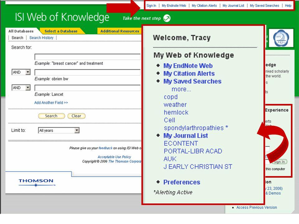 Su perfil personal está accesible desde cualquier página de Web of Knowledge ** **, donde usted podrá administrar** ** sus historiales de búsqueda guardados, alertas y biblioteca de EndNote Web. Después de haberse registrado, sus alertas en historiales y su biblioteca de EndNoteWeb quedan habilitados en forma inmediata.