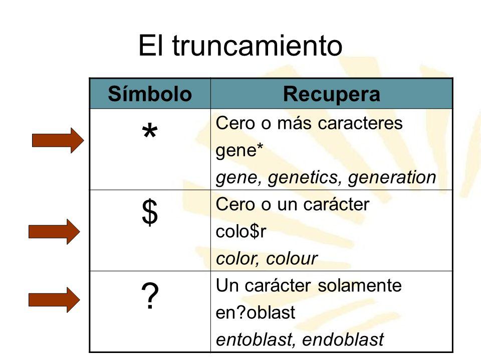 * $ El truncamiento Símbolo Recupera Cero o más caracteres gene*