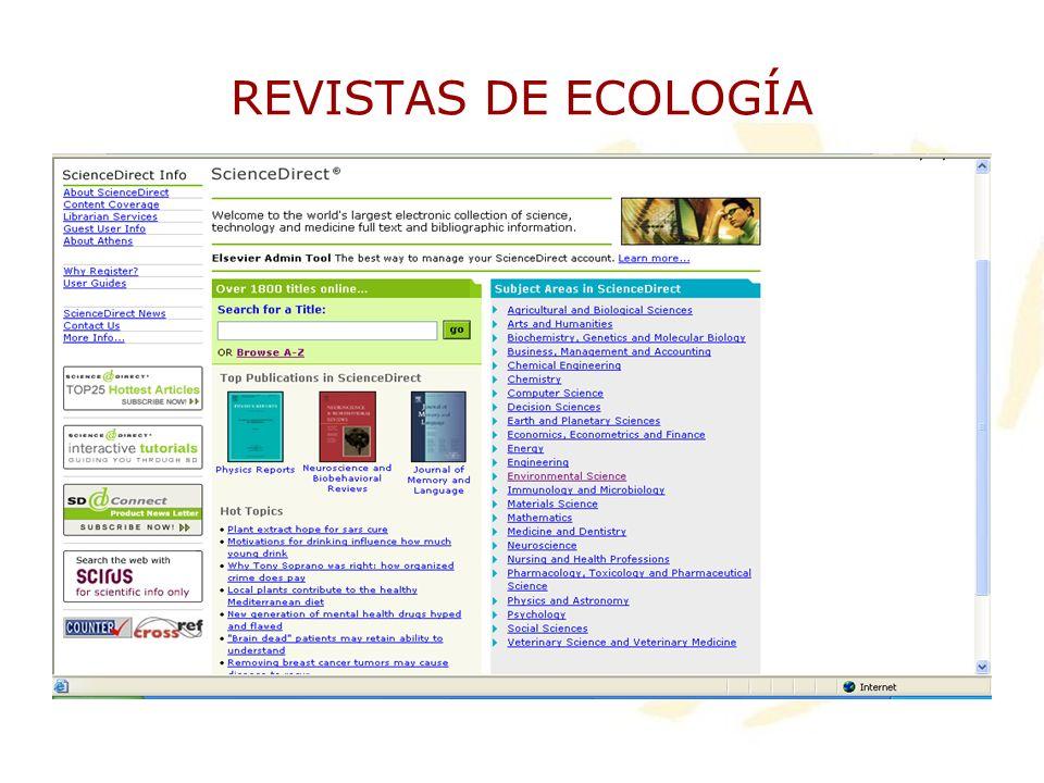 REVISTAS DE ECOLOGÍA