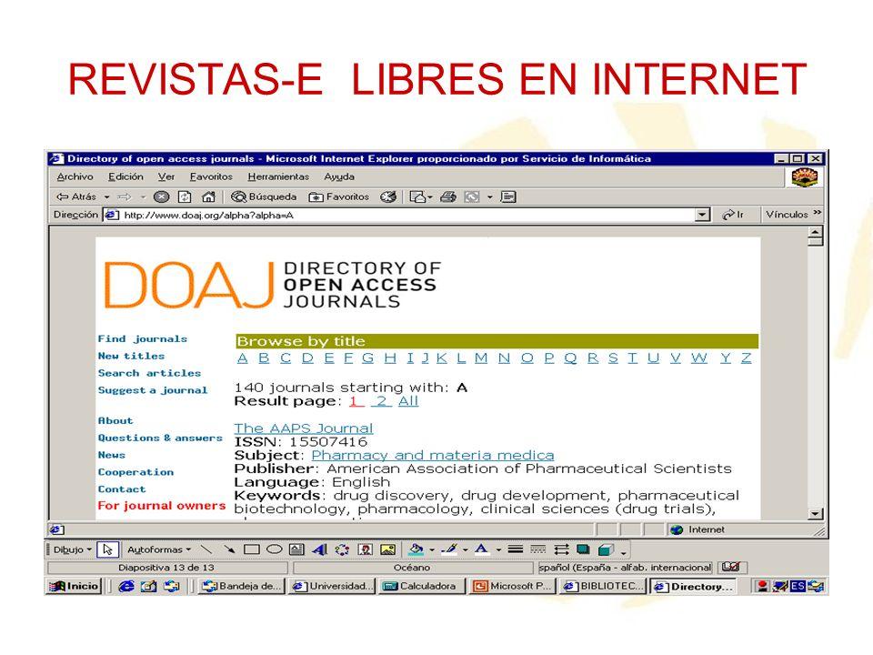 REVISTAS-E LIBRES EN INTERNET