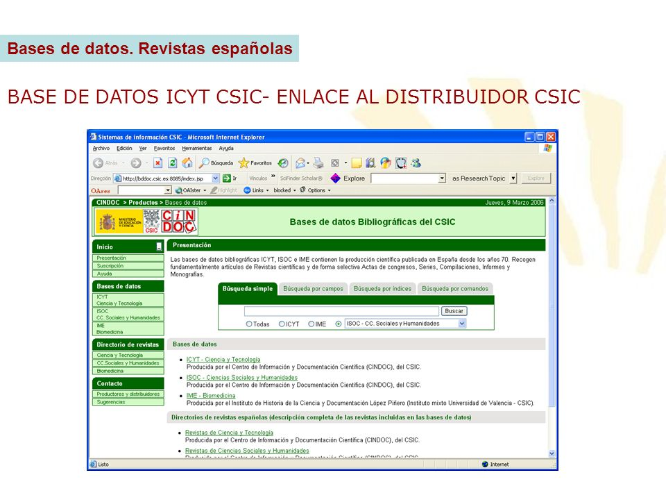 BASE DE DATOS ICYT CSIC- ENLACE AL DISTRIBUIDOR CSIC
