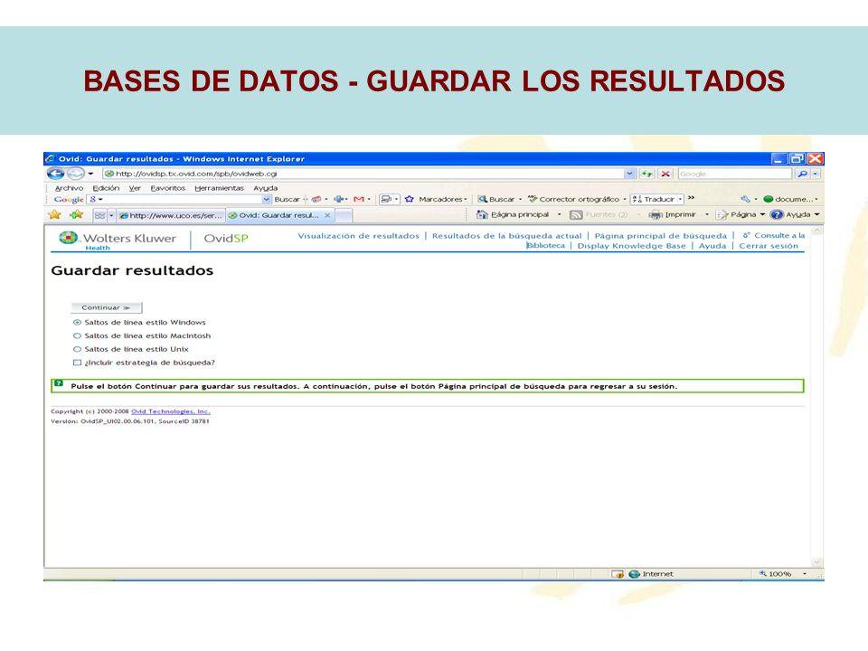 BASES DE DATOS - GUARDAR LOS RESULTADOS