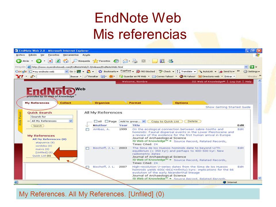 EndNote Web Mis referencias