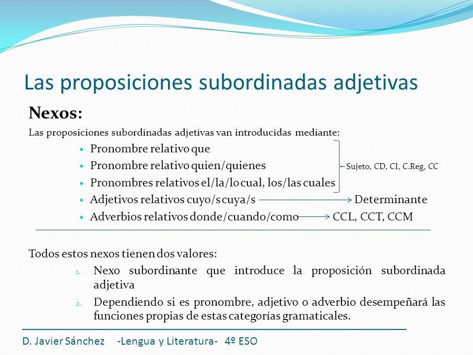 Las proposiciones subordinadas adjetivas