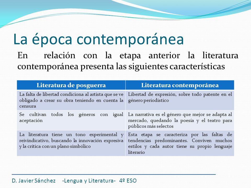 La literatura contempor nea ppt video online descargar for Caracteristicas de la contemporanea