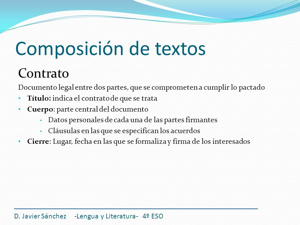 Composición de textos Contrato