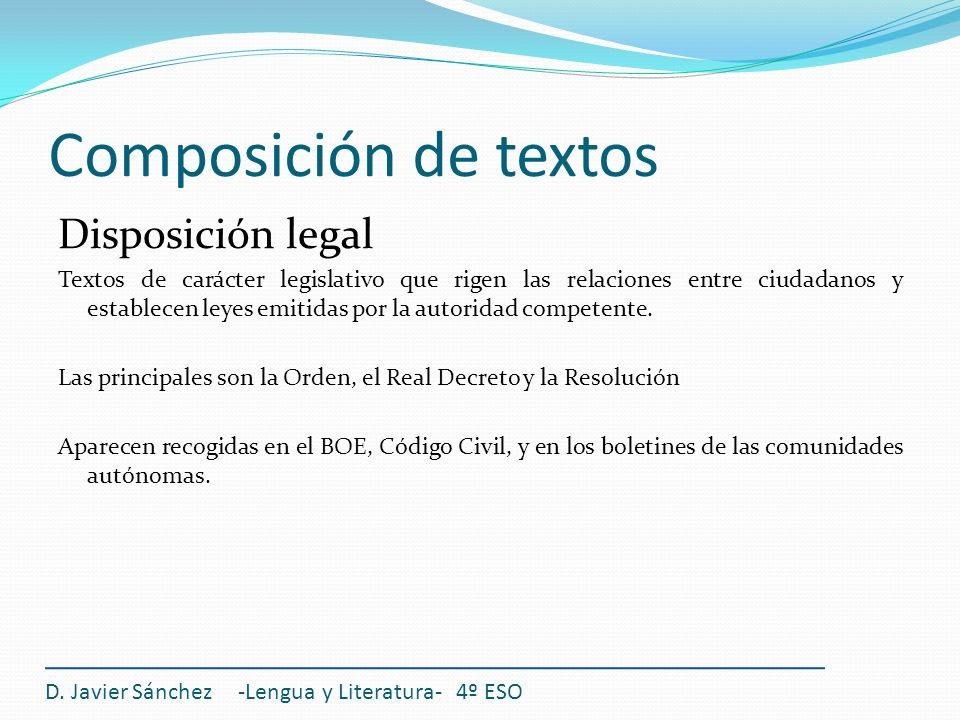 Composición de textos Disposición legal