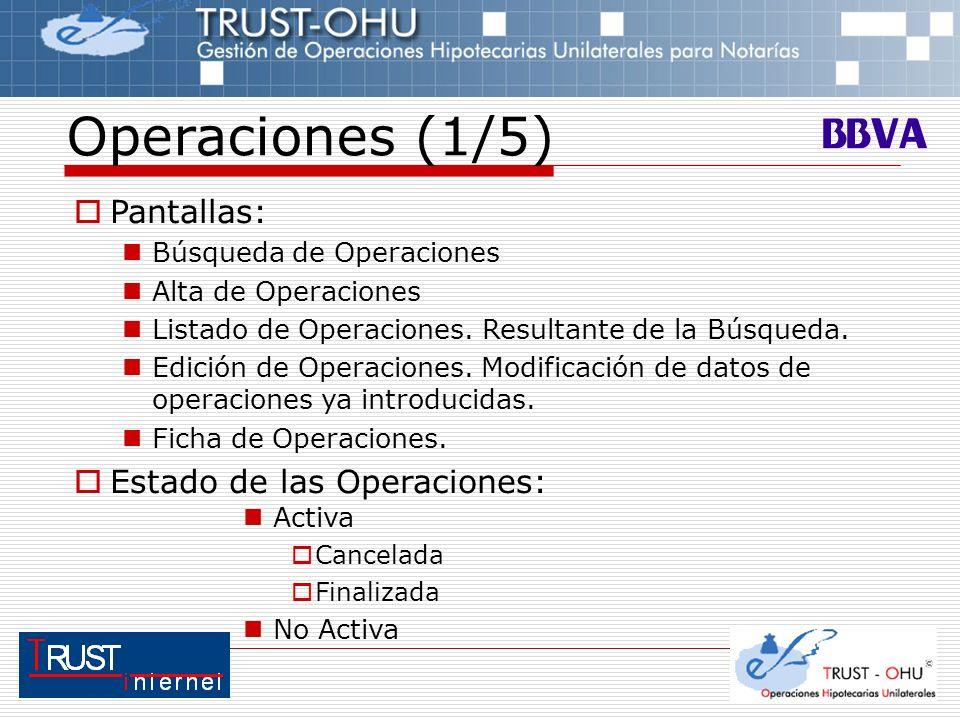 Operaciones (1/5) Pantallas: Estado de las Operaciones: