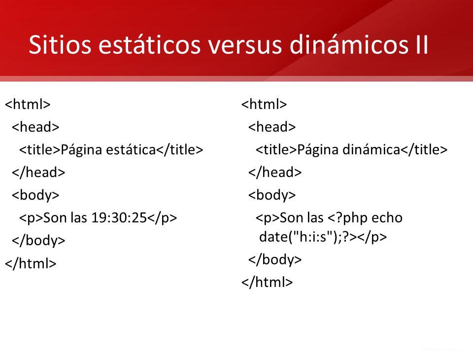 Sitios estáticos versus dinámicos II
