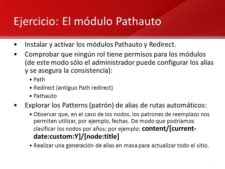 Ejercicio: El módulo Pathauto