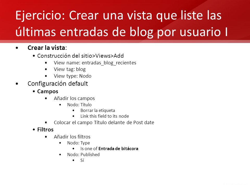 Ejercicio: Crear una vista que liste las últimas entradas de blog por usuario I