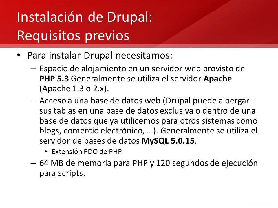 Instalación de Drupal: Requisitos previos
