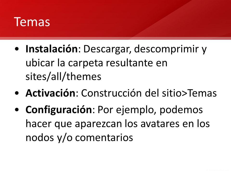 Temas Instalación: Descargar, descomprimir y ubicar la carpeta resultante en sites/all/themes. Activación: Construcción del sitio>Temas.