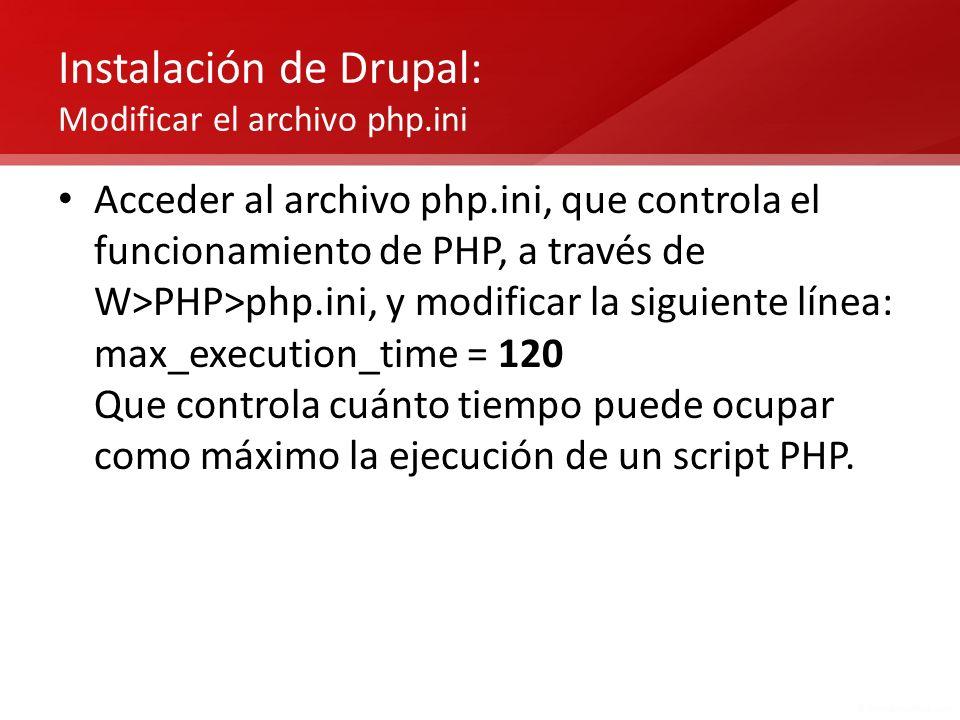 Instalación de Drupal: Modificar el archivo php.ini