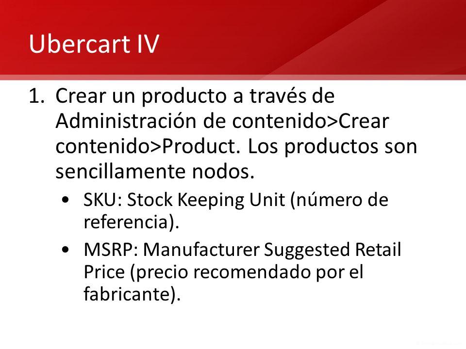 Ubercart IV Crear un producto a través de Administración de contenido>Crear contenido>Product. Los productos son sencillamente nodos.
