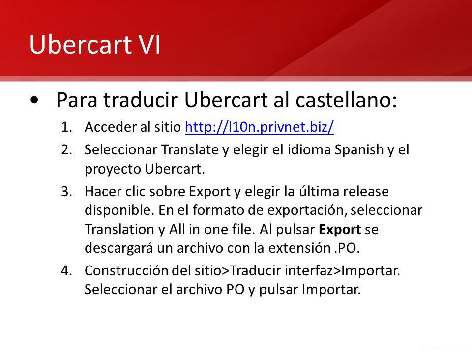 Ubercart VI Para traducir Ubercart al castellano: