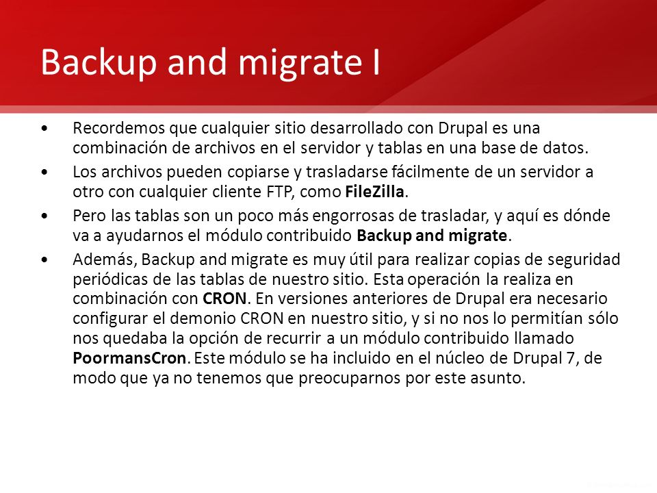 Backup and migrate I