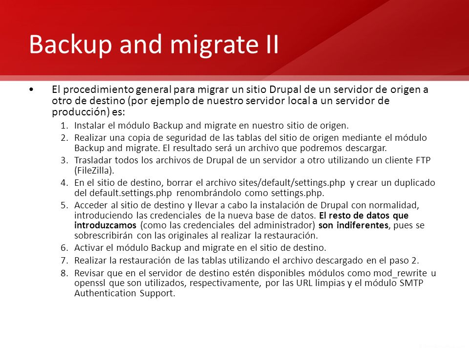 Backup and migrate II
