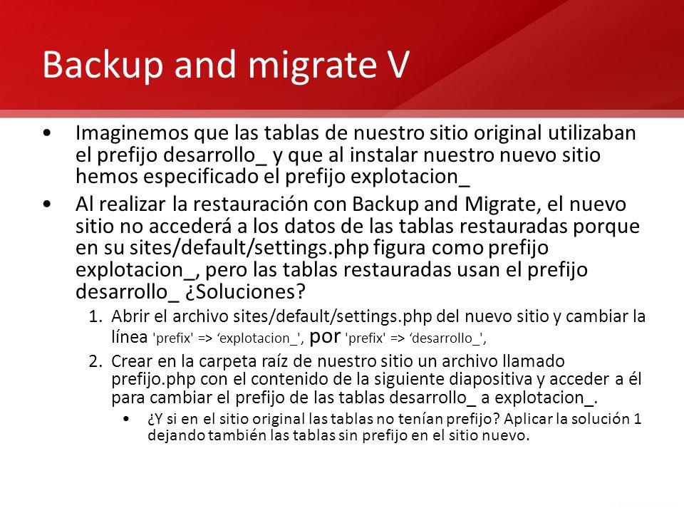 Backup and migrate V