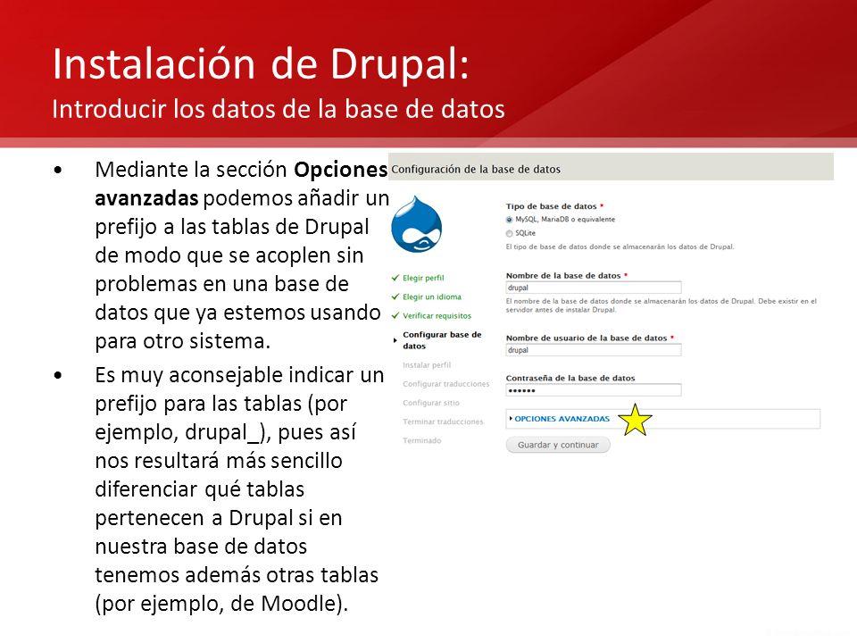 Instalación de Drupal: Introducir los datos de la base de datos