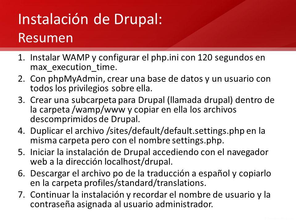 Instalación de Drupal: Resumen