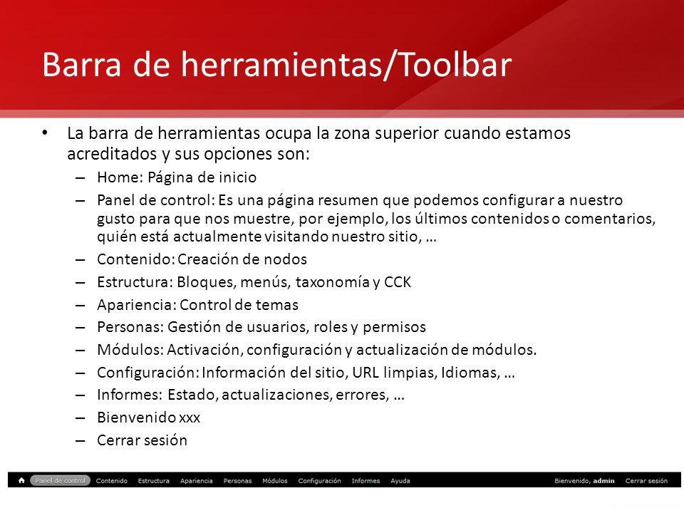 Barra de herramientas/Toolbar
