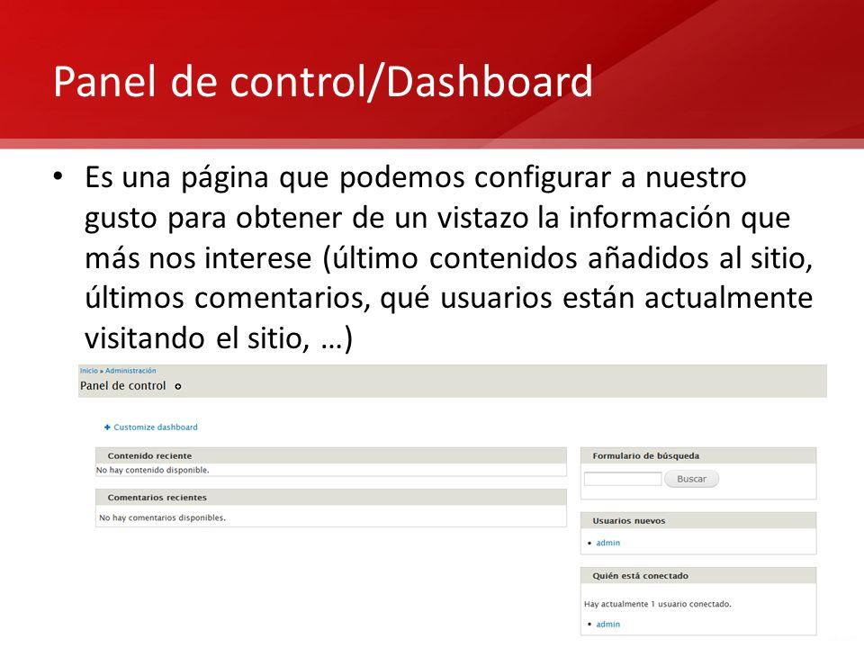 Panel de control/Dashboard