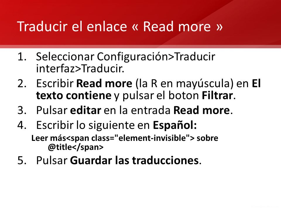 Traducir el enlace « Read more »